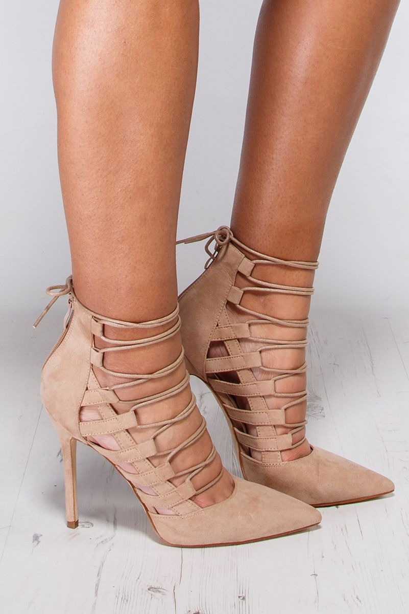 Dania Nude Lace Up Pointed High Heels at misspap.co.uk | Gorgeous ...