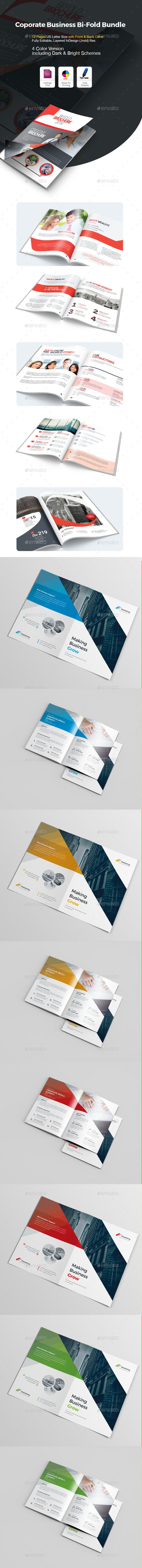 bi fold brochure template vector eps indesign indd ai illustrator