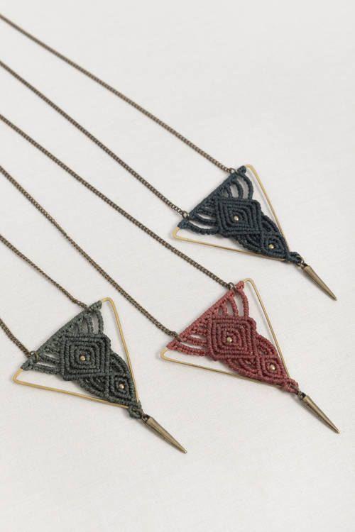Photo of Hammered brass macrame necklace, handmade jewelry, macrame necklace, geometric shape, elegant jewelry, for her