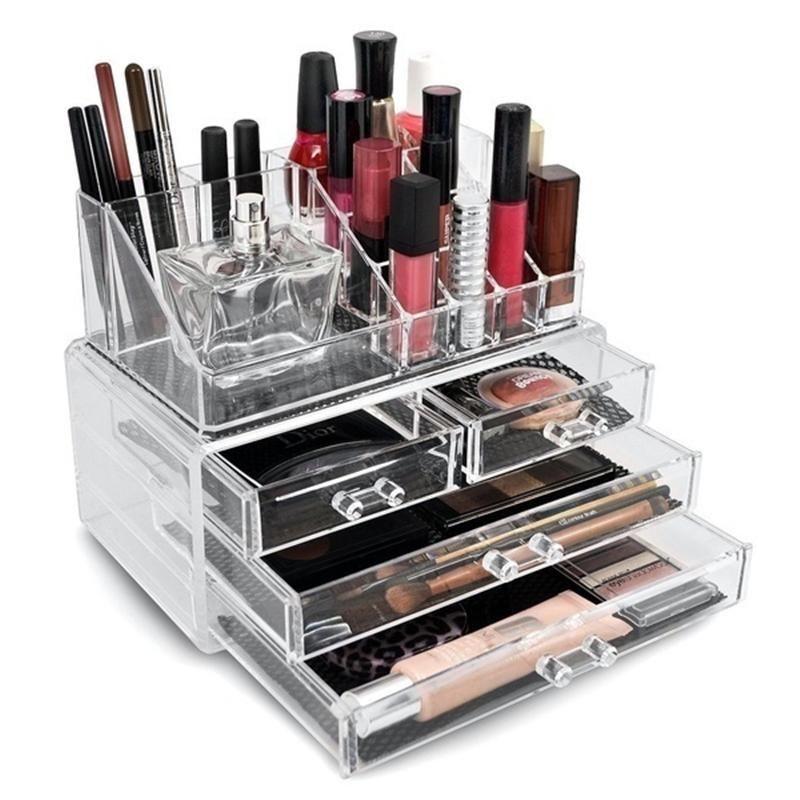 Acrylic cosmetics jewelry box storage put cosmetic bags form storage