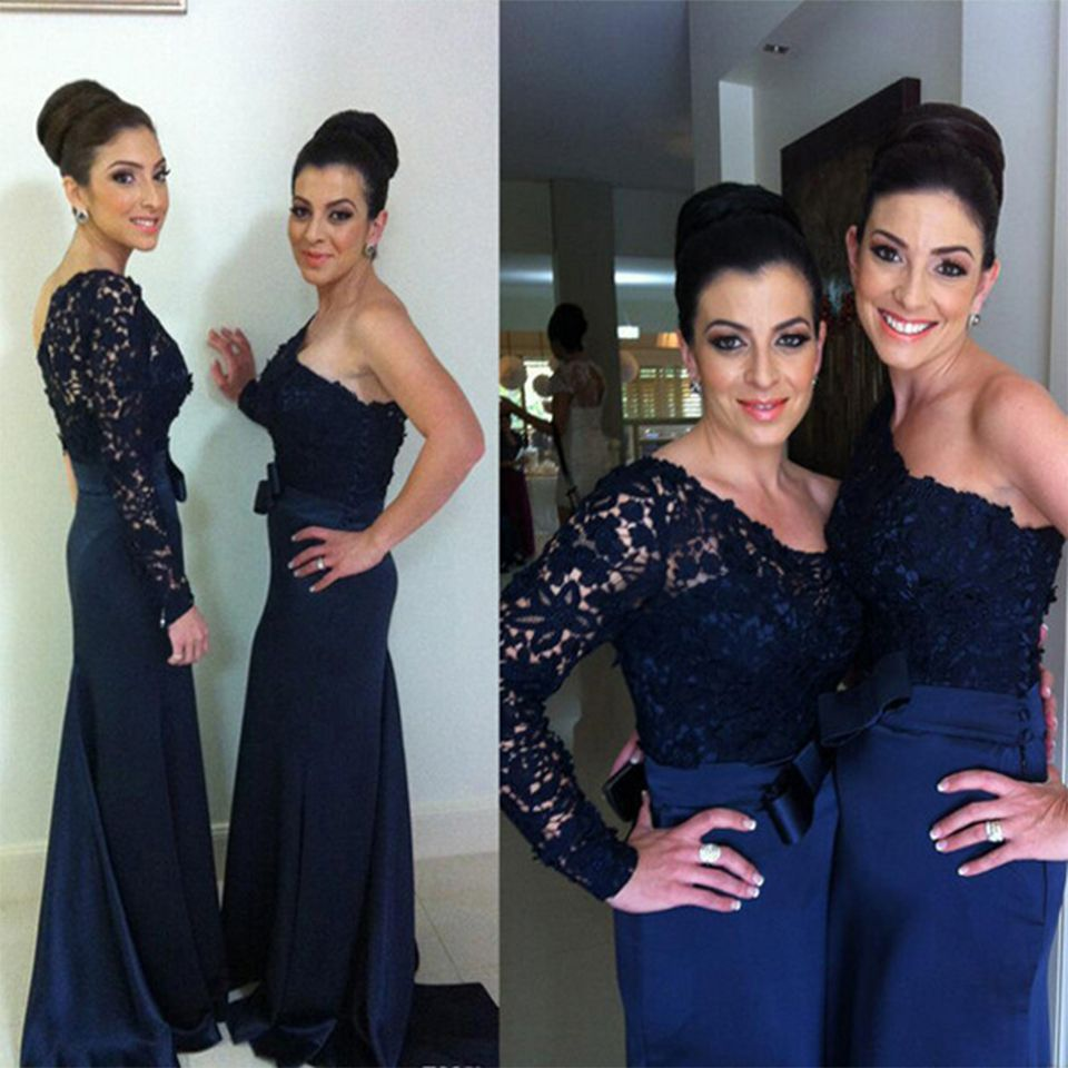 Find a 2016 best long dark navy blue bridesmaid dresses mermaid find a 2016 best long dark navy blue bridesmaid dresses mermaid satin lace wedding bridesmaid dress ombrellifo Image collections