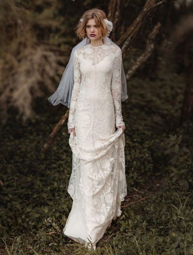 Garden Wedding Dress Sheath Lace Wedding Gown Vintage Bridal Shower Dress Lace Wedding Reception Dress Boho Bride Dresses Long Sleeve Lace In 2021 Long Sleeve Wedding Dress Lace Lace Wedding Dress [ 1050 x 794 Pixel ]