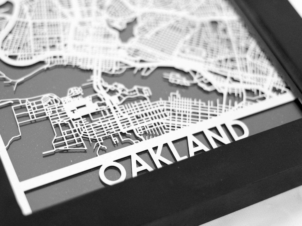 Oakland California Stainless Steel Laser Cut Map