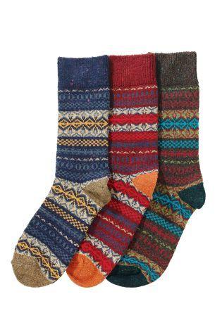 Buy Three Pack Signature Fairisle Pattern Socks from the Next UK ...