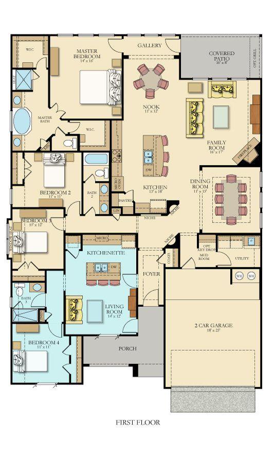 Lennar S Hilltop Ii Nextgen Floor Plan With 2700 Sq Ft New House Plans Multigenerational House Plans House Blueprints