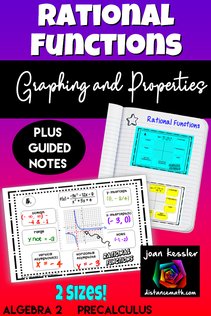 Graphing Rational Functions Rational Function Interactive Notebooks Graphing