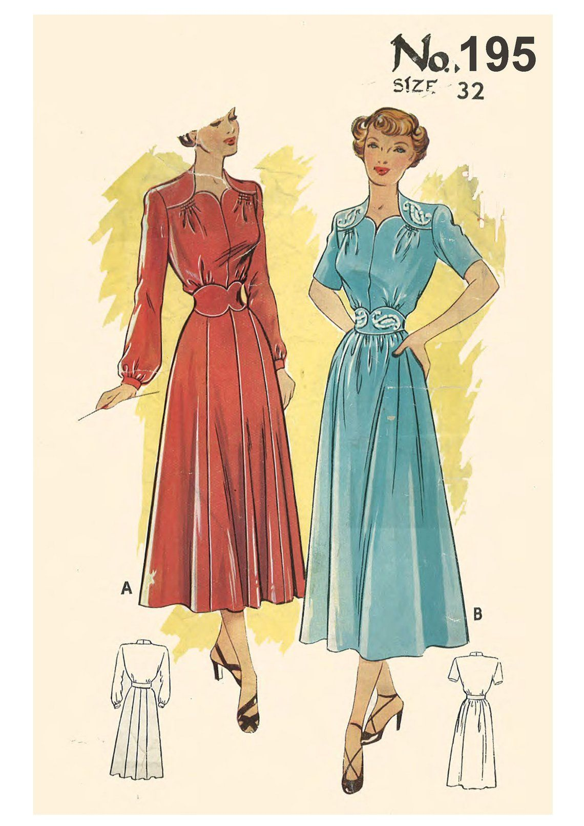 Vintage 1940 S Sewing Pattern Wartime Dress Shoulder Yokes Sweetheart Bust 32 1940s Dress Pattern Sewing Patterns Make Your Own Clothes