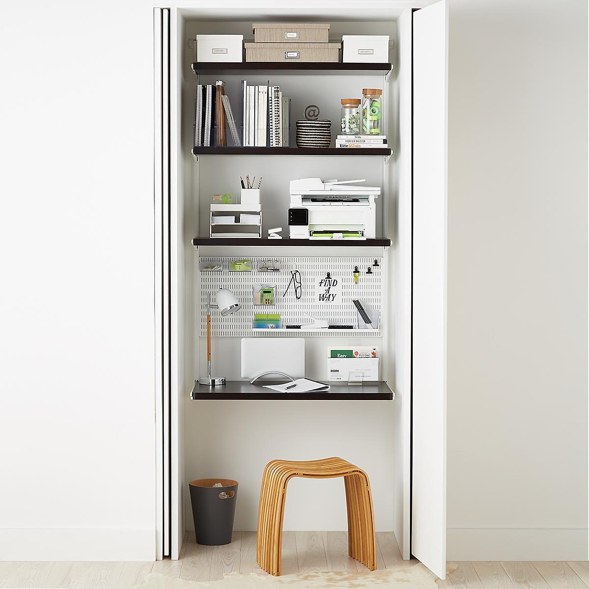 Elfa Decor Walnut White Nook Wall Storage Shelves Office Shelving Asian Home Decor