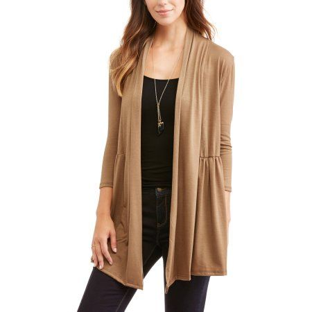 Women's Essential Soft Knit Flyaway Cardigan With Lace Back, Size ...