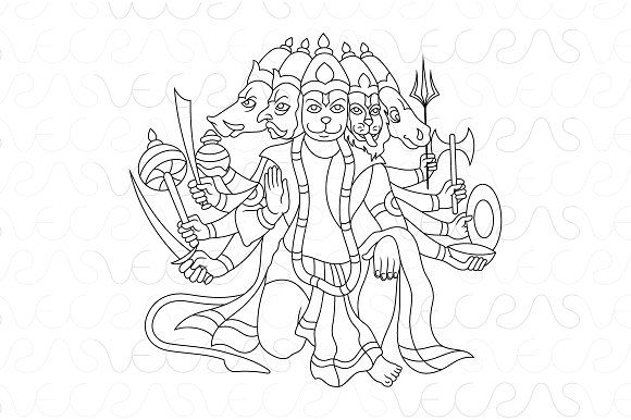 Panchamukha Hanuman Vector Illustrat Graphics This Is A Vector