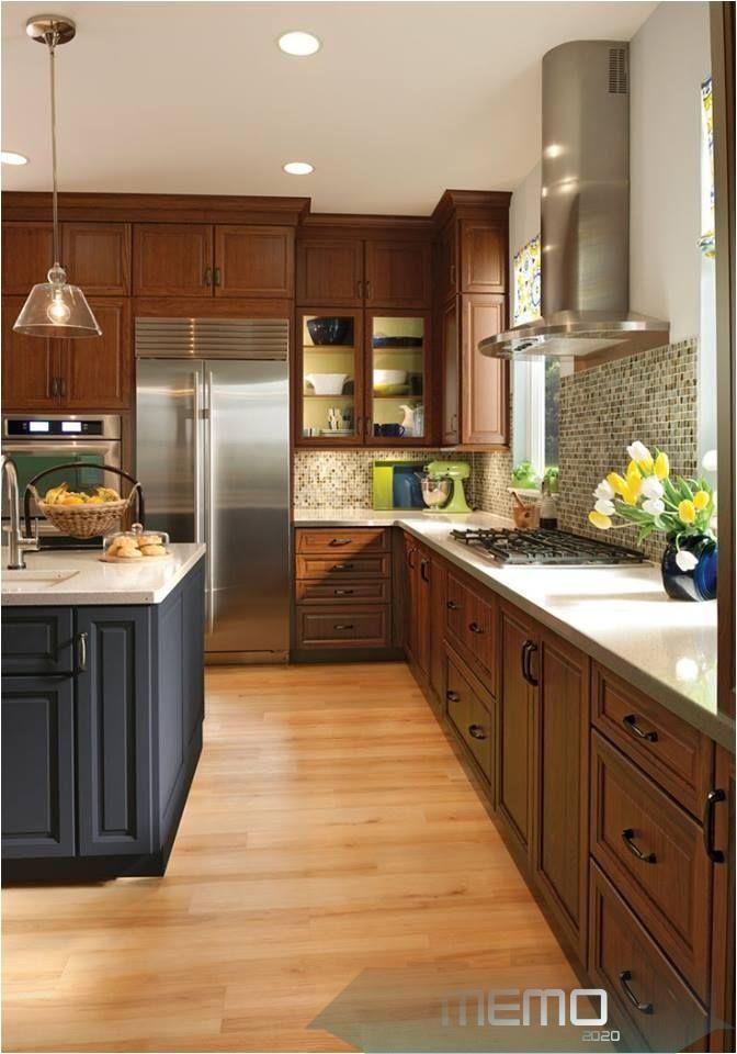Nov 6 2015 Cherry Cabinets Maple Floor W Pink Orange Undertones For Contrast Kitchenca Cherry Cabinets Kitchen Kitchen Design Small Maple Kitchen Cabinets