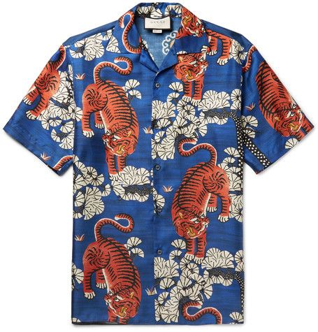 50339b0fab2 GUCCI Camp-Collar Printed Silk-Twill Shirt