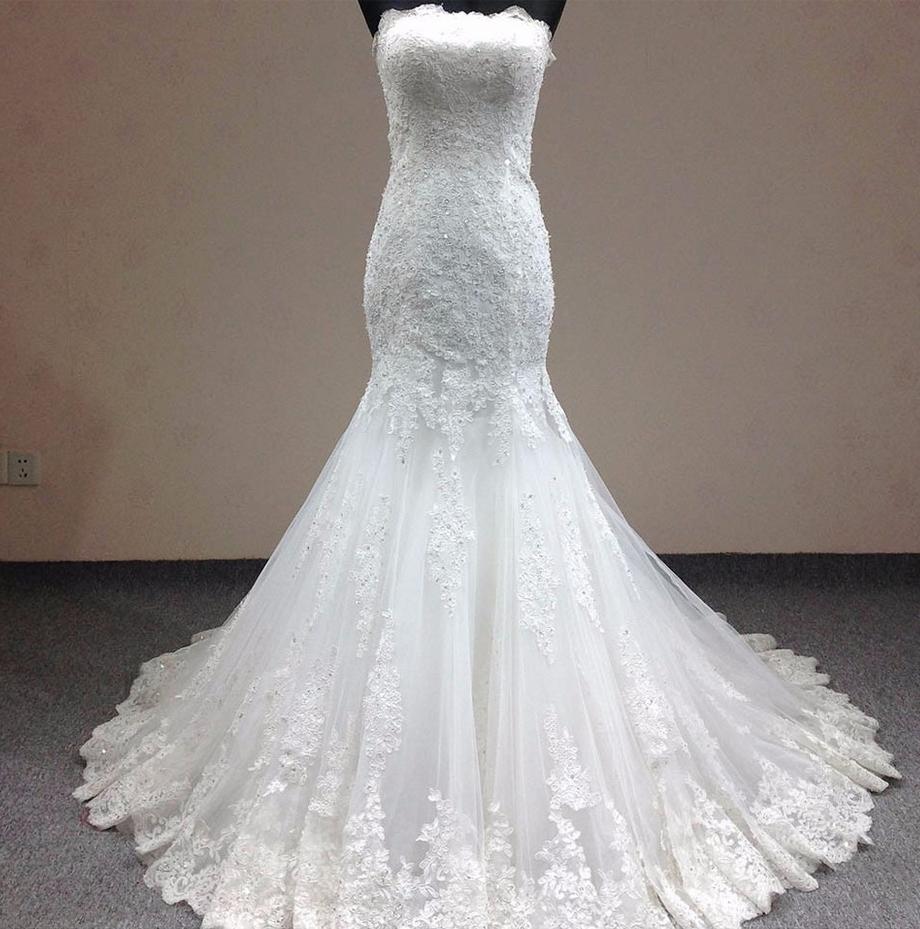 Vestido de novia de renda mermaid wedding dress graceful slim