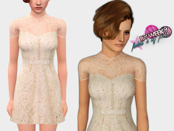 Sequin dress with lace by Weeky for the Sims 3. This is ...