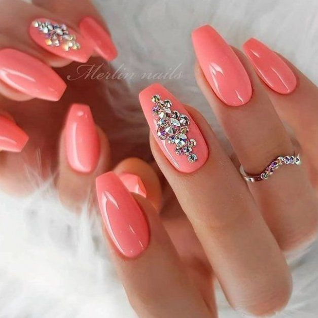Peach Nails With Rhinestones  rhinestonesnails  peachnails        A design with accent nails is definitely not something brand new  Yet  we cannot stop opting for it  Why  Because we love emphasizing our individuality         See more   post link   naildesignsjournal  nails  nailart  naildesigns  accentnails #manicures #heart #accent #accent #nails #ring #finger