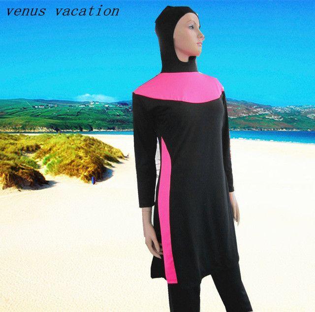 f92939f79ff Full Coverage Modest Muslim Swimwear Islamic Swimsuit For Women Arab Beach  Wear Two Pieces Set Muslim