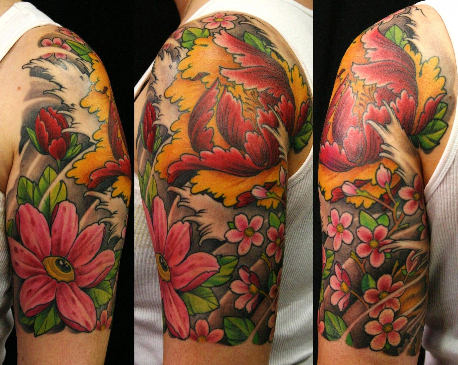 Japanese calf tattoos by durb - Flower Sleeve Tattoos Chris Walkin Portfolio Japanese Flowers Tattoo The Iron Cypress