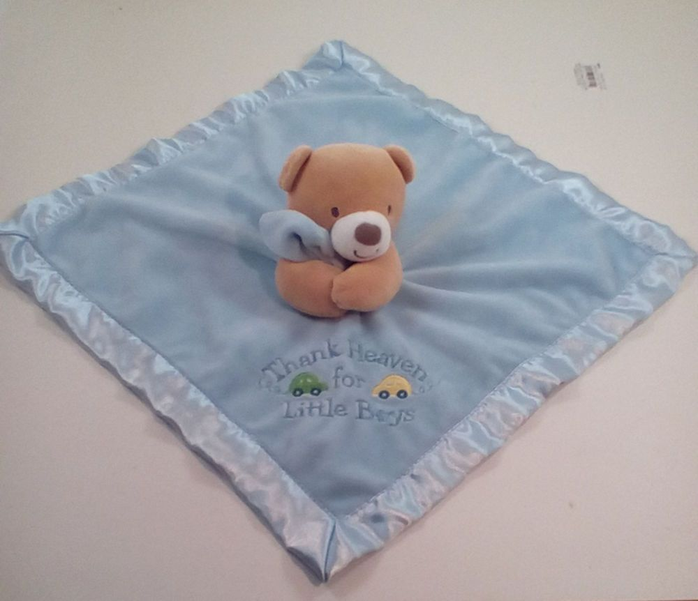 Baby Starters Blue Thank Heaven for Little Boys Teddy Bear Security Blanket #BabyStarters