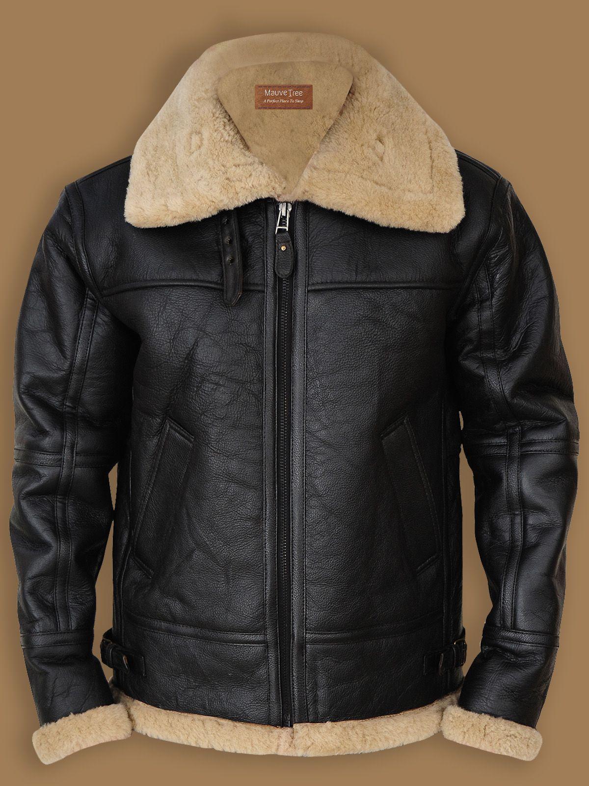 Black B3 Bomber Sheepskin Leather Jacket Men Jacket Mauvetree Leather Jacket Men Bomber Jacket Fashion Sheepskin Jacket [ 1600 x 1200 Pixel ]