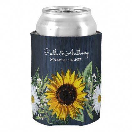 Rustic Navy Blue Sunflower|Daisy Wedding Favor Can Cooler | Zazzle.com