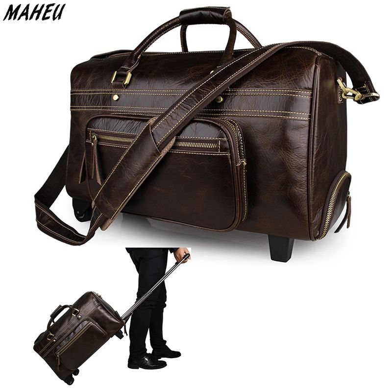 Vintage genuine leather trolley bag men women waterproof double zipper travel  duffle big capacity male tote luggage weekend bags. 32f1fcd914480
