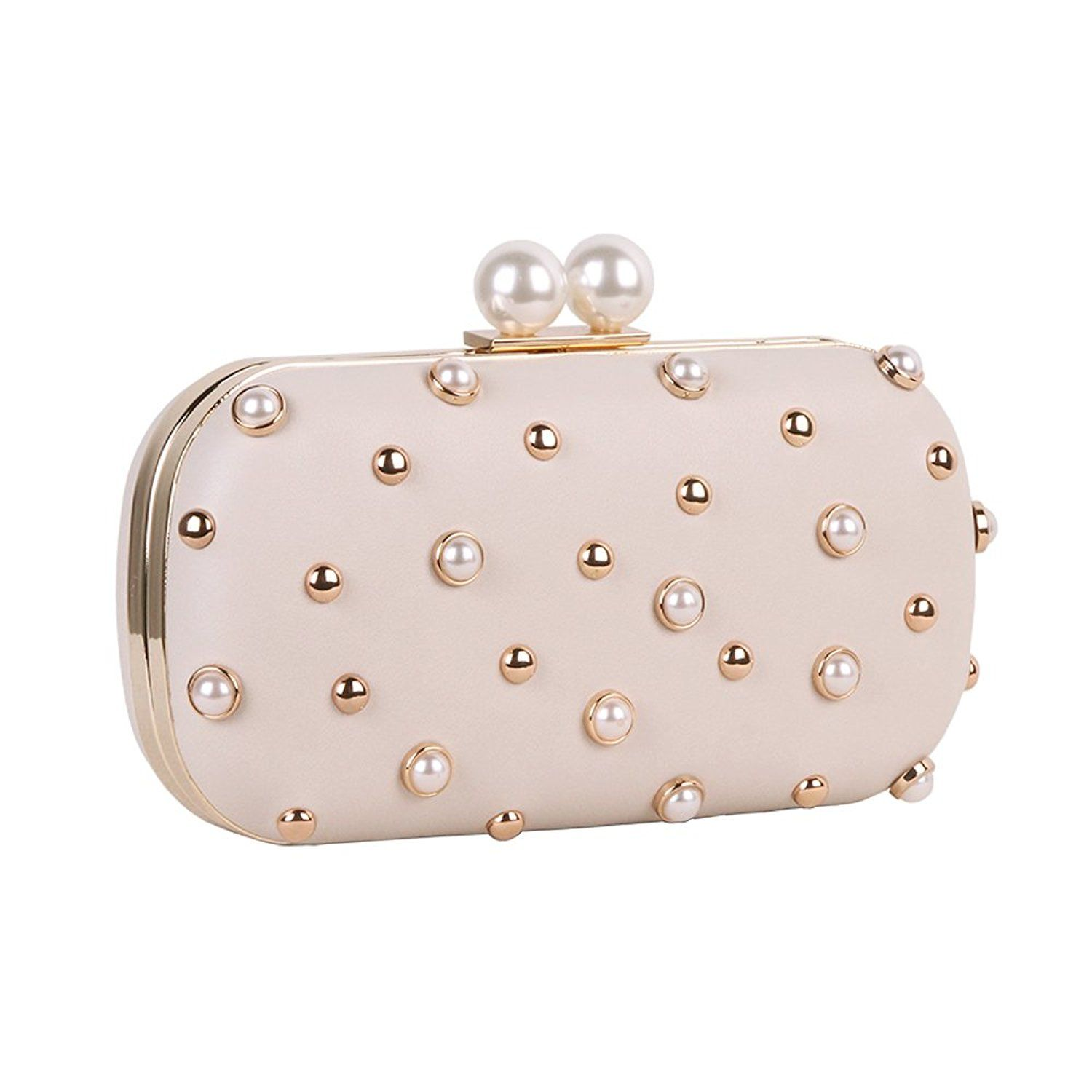 Amazon.com  M10M15 Clutch Purse for Women Pearl Studded Hardcase Evening Bag  for Party  Clothing ef878f61fc6b6