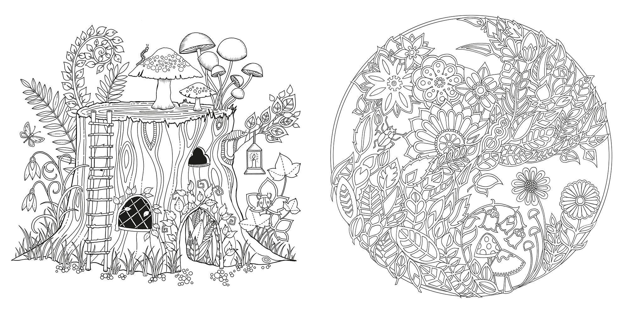 Embroidery Enchanted Forest Colouring Book