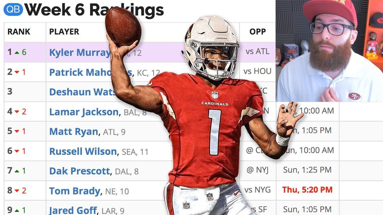 Weekly Fantasy Football Rankings For Week 6 Ppr Fantasy Football Rankings Fantasy Football Football