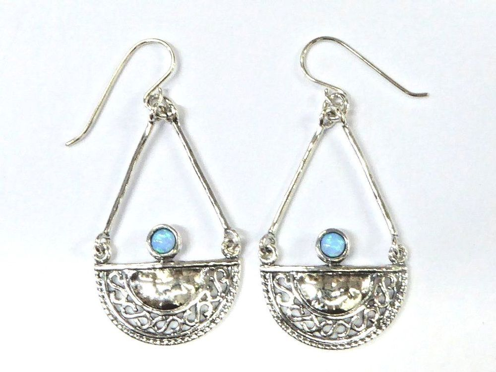 2da53193facb7 Unique earrings for woman, designer jewelry, Israeli Blue opal ...