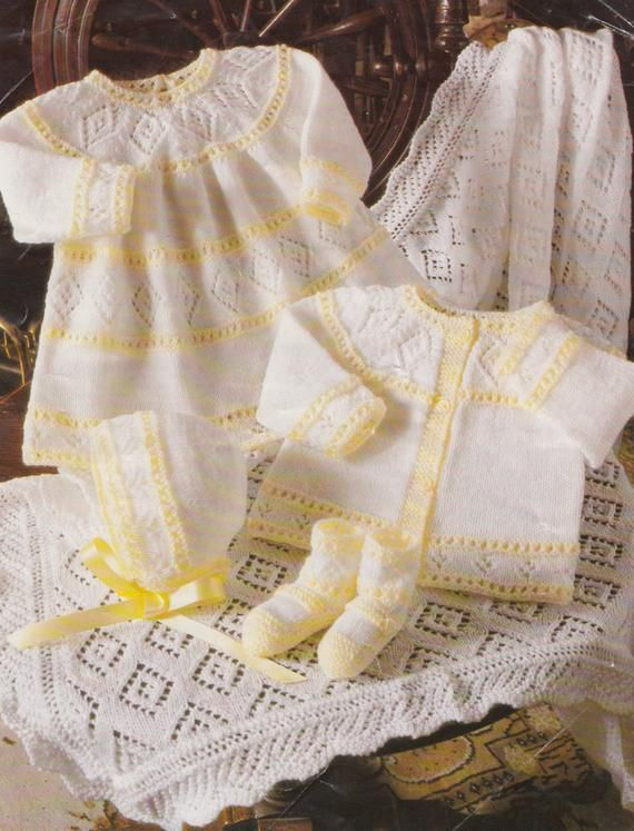 f913e81c3419 baby knitting pattern vintage matinee coat booties bonnet dress and ...