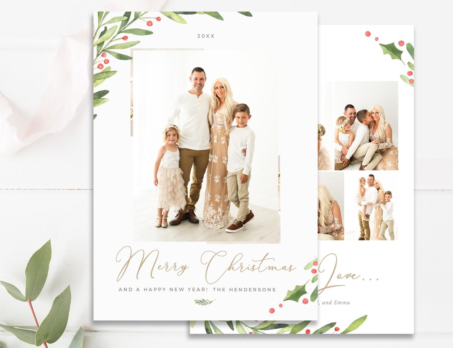 Greenery Christmas Photo Card Template Merry Christmas Card Etsy Photo Card Template Christmas Photo Card Template Christmas Card Photoshop