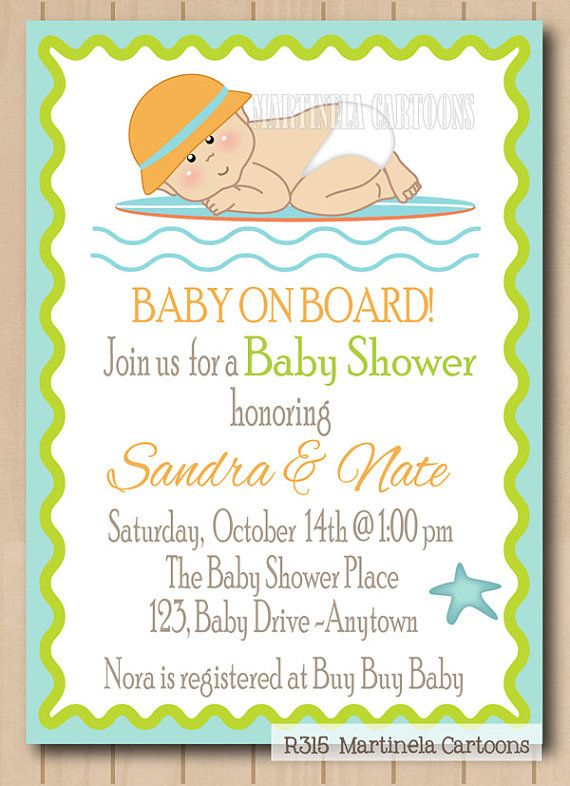 Surf Theme Baby Shower Invitation 1st By MartinelaCartoons On Etsy