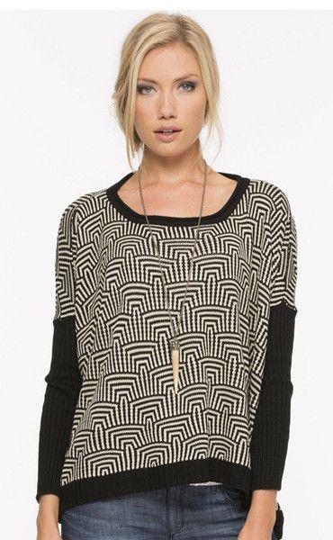 Geo Pattern Intarsia Knit Sweater in Black/White