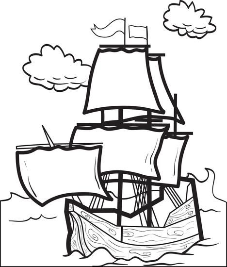 Printable Mayflower Coloring Page For Kids Thanksgiving Coloring