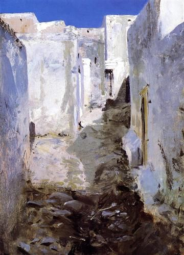 A Street in Algiers Artist: John Singer Sargent Start Date: 1879 Completion Date:1880 Style: Impressionism Genre: cityscape Technique: oil Material: panel Dimensions: 34.29 x 25.4 cm Gallery: Private Collection
