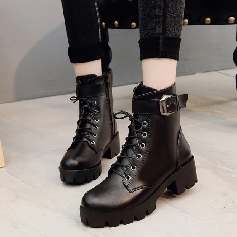 Womens Winter Pointed Toe Martin Boots Waterproof PU Buckle Zip Block Low Heel Warm Ankle Boots