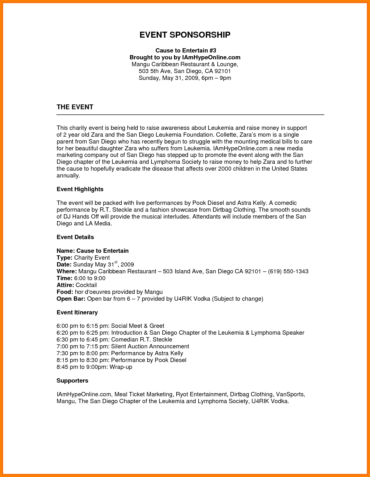 Event Proposal Format Example  Event Proposal Template