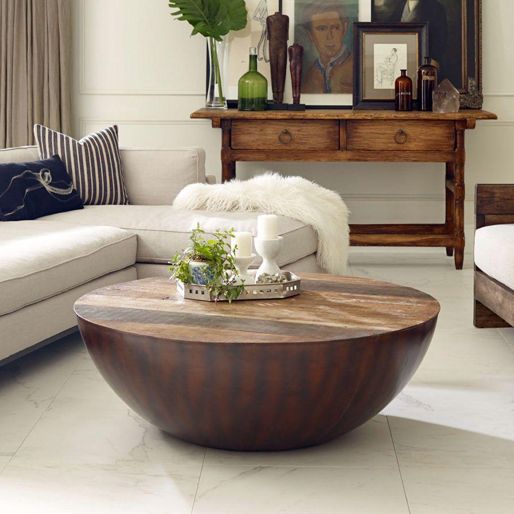 Ryan Coffee Table Drum Coffee Table Round Wood Coffee Table Solid Wood Coffee Table [ 1024 x 1024 Pixel ]
