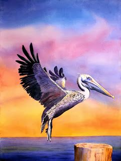 """Artists Of Texas Contemporary Paintings and Art - """"Landing"""" - original watercolor"""
