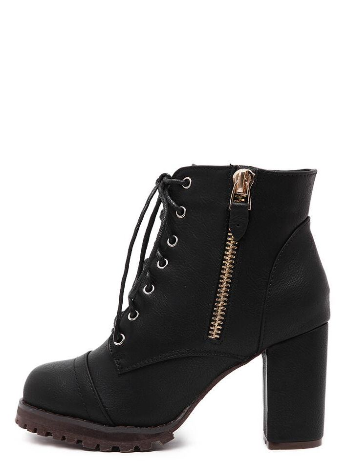 Womens Chunky Heel Ankle Boots Lace Up Zipper Elasticated Ankle Booties