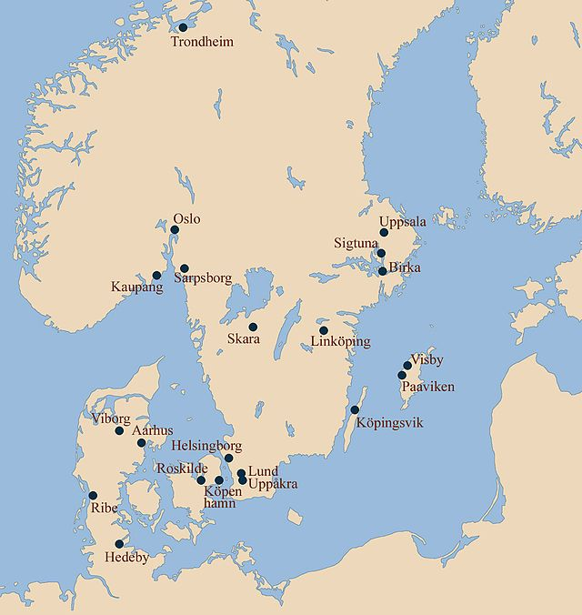 Map of Viking era towns of Scandinavia. The epicentre of the ...
