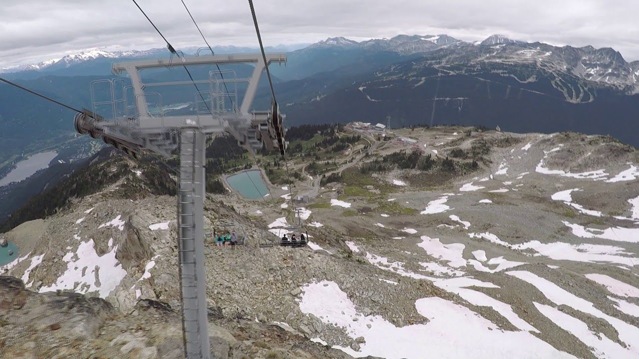 Going Down on Whistler Peak Chair Lift with GoPro Chair