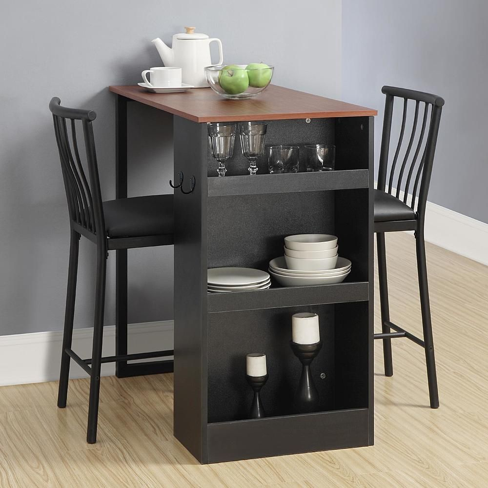 3 Pc Counter Height Dining Set Black Bar Chair Table Shelves Storage