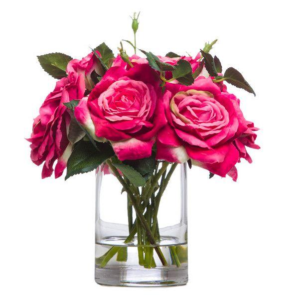 Lux Art Silks Fuschia Pink Rose Faux Flower Arrangement 106