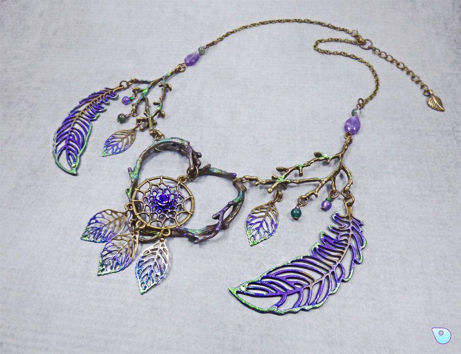 Dreamcatcher Necklace, Tree of life, Leaf Woodland Jewelry, Boho Jewelry, Pagan…