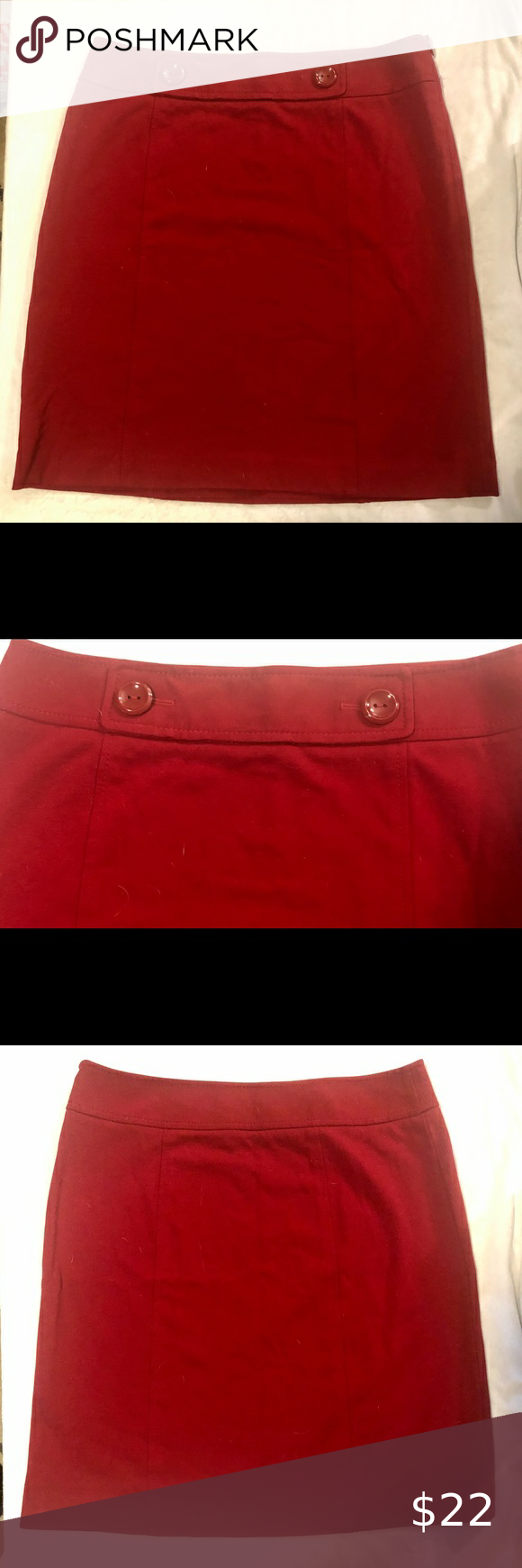 Like New Ann Klein Red Skirt With Big Red Buttons In 2020 Red Skirts Red Button Klein