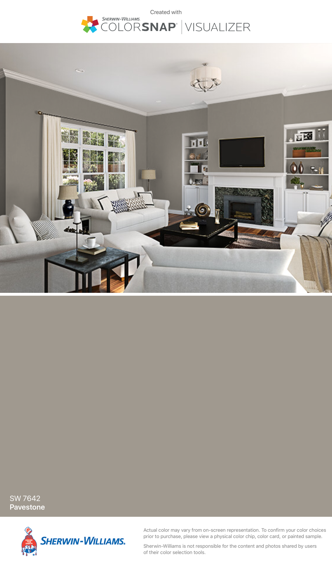I found this color with colorsnap visualizer for iphone by sherwin williams pavestone sw 7642