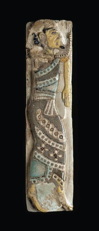 Polychrome faience tile depicting a Syrian chief. New Kingdom. 20th dynasty. Reign of Ramesses III. 1184 - 1153 B.C. | Museum of Fine Arts, Boston