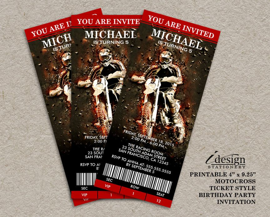 Cool Ticket Style Motocross Birthday Party Invitation With A Dirt