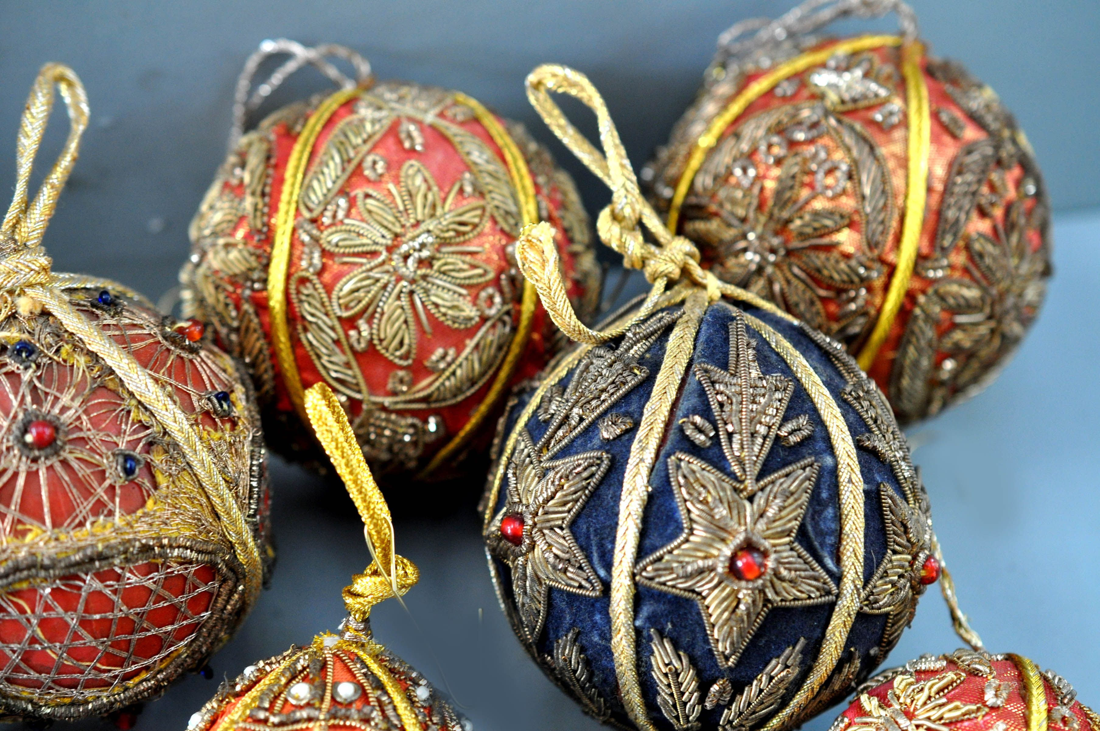 Close Detail Indian Embroidery Balls Embroidered Christmas Ornaments Christmas Bead Christmas Embroidery